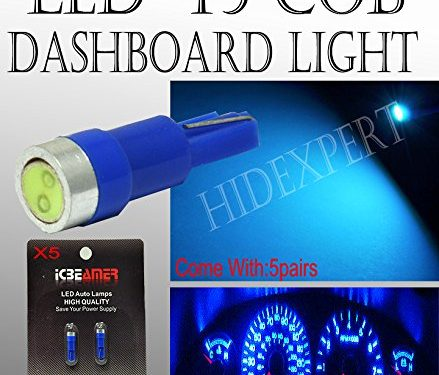 ICBEAMER Gauge Cluster COB LED light Bulbs Dashboard Lamp Instrument Panel Indicators T5 70 73 74 Color Blue5 Pairs