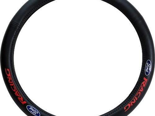 Pilot Automotive Accessory SW-121 Genuine Leather Steering Wheel Cover, Ford Logo