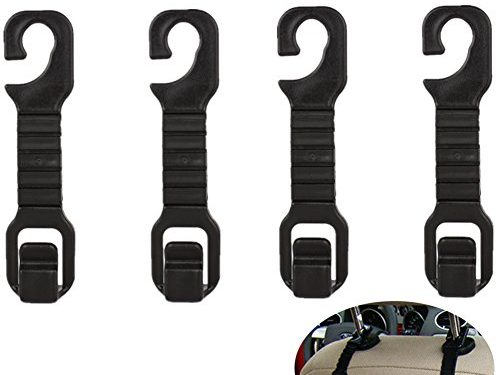 Strong and Durable Backseat Storage for Handbags, Purses, Coats, Bottle Holder, and Grocery Bags – 4 Pack Universal Convenient Vehicle Auto Car Back Seat Headrest Hanger Hook Holder