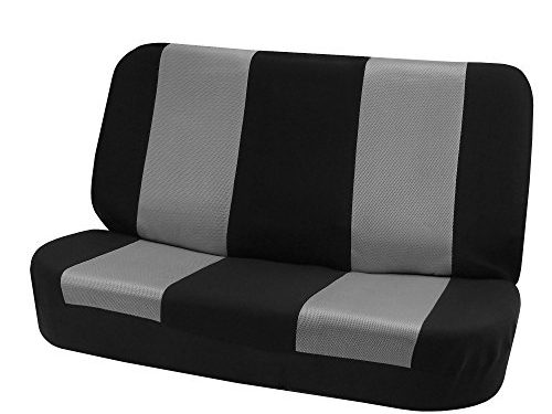 FH GROUP FH-FB102010 Classic Cloth Bench Seat Covers Gray / Black Color- Fit Most Car, Truck, Suv, or Van