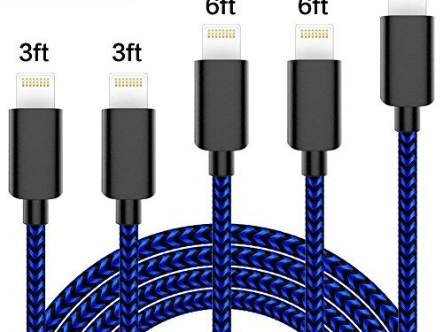 IPhone Charger TNSO 5 Pack 3/3/6/6/10ft Extra Long Nylon Braided 8 Pin Lightning Cable USB Charger Cord Compatible with IPhone X/8/8Plus/7/7Plus/6S/6S Plus/SE/iPad/Nano and more Black and Blue