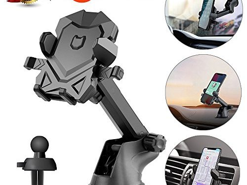 Car Phone Mount,Universal Washable Dashboard Cell Phone Holder With One-Touch Design, Air Vent Car Phone Holder for iPhone 6 6plus 7 7plus 8 8plus X Samsung Galaxy S9 S8 More BlackGray by pipigo