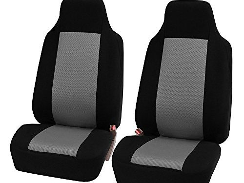 FH Group FB102GRAY102 Gray Classic Cloth 3D Air Mesh Front Set Bucket Auto Seat Cover, Set of 2