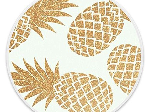 Gold Glitter Pineapple White – Premium Expanding Pop Grip Socket,MultiFunction Mount Holder Compatible With Samsung, LG,iPhone, All Cellphones and Decives