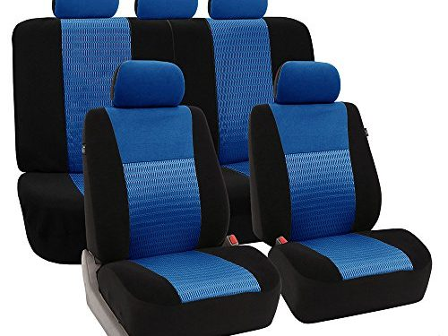 FH Group Universal Fit Full Set Trendy Elegance Car Seat Cover, Blue/Black FH-FB060115, Airbag compatible and Split Bench, Fit Most Car, Truck, Suv, or Van