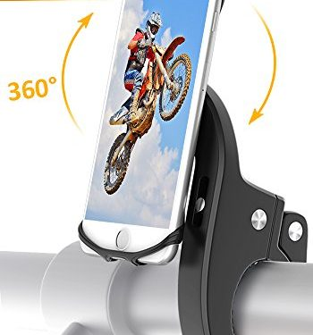 Bike Mount, Bovon Universal Bicycle Phone Holder, Adjustable Silicone Bike Handlebar Rack for iPhone X 8 7 6 6S Plus, Samsung Galaxy S9 S8 Plus and Most 4.7″-6.3″ Smart phones black-update