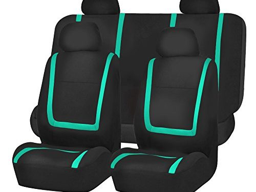 FH Group FB032MINT114 Mint Unique Flat Cloth Car Seat Cover w. 4 Detachable Headrests and Solid Bench