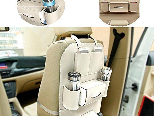 Super PDR PU Leather Car Seat Back Organizer Multi-Pocket Storage Bags Protectors Universal Use for iPad Kids Bottles Table Holder Beige
