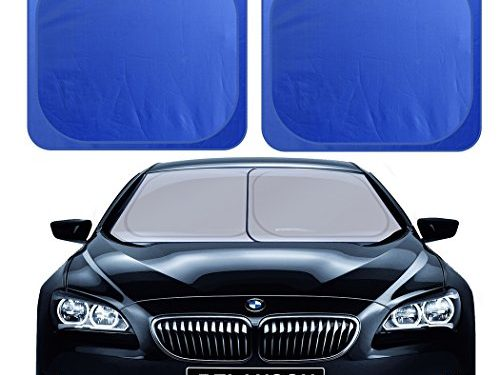 Universal Fit – RELANSON Car Windshield Sunshade,2 Pieces of Separate Foldable 35″x31″ Car Sun Shade Blocks UV Rays Sun Visor Protector and Keep Your Vehicle Cool