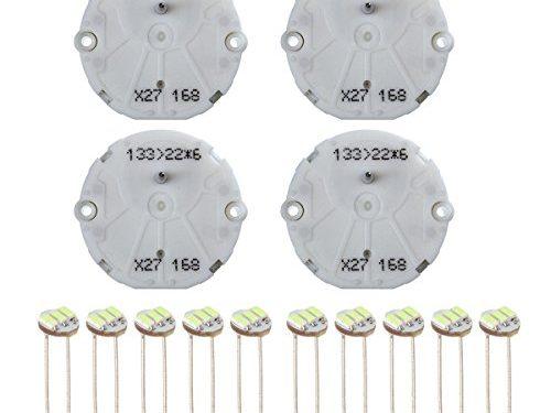 Partsam 4PCS X27 168 Stepper Motor Gauge Cluster Speedometer Repair Kit for GM GMC + 10PCS Ice Blue T4.7 Soldering Led Bulb