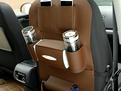 Super PDR PU Leather Car Seat Back Organizer Multi-Pocket Travel Storage Bag with Bottle Holder Tissue Box iPad KidsBrown