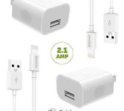 iPhone X Charger iPhone X/8/8 Plus/7 Plus/7/6S plus/6S/6/Apple Lightning Cable Kit by Boxgear – { 2 Wall Charger + 2 Cable }, Apple MFi Certified USB Cables White