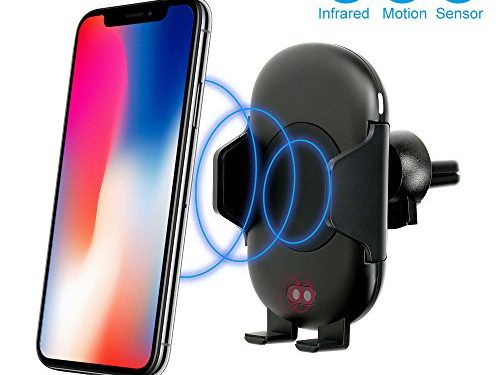 Wireless Car Charger, FOTOWELT Automatic Qi Wireless Rapid Charger Fast Wireless Charging Car Phone Mount Air Vent Phone Holder for Samsung Galaxy S9 S9 Plus S8 S7/S7 Edge Note 8 5 iPhone X 8/8 Plus