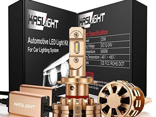 DOT Approved H7 Led Headlight bulb-3 Year Warranty, IP68, KASLIGHT Led H7 Headlights Bulbs Conversion Kit 6000K, Fire-proof 1 Set