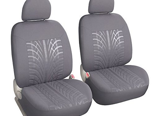 Embossed Cloth Low Back Grey 2 Fronts Seat Covers for Cars Universal Fits Truck SUV with Airbag