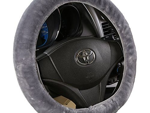 Andalus Faux Sheepskin Vehicle Stretch-On Steering Wheel Cover, Comfortable Car Steering Wheel Protector, Gray