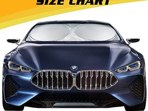 Magnelex Car Windshield Sunshade Large + Bonus Steering Wheel Cover Sun Shade. Premium Quality Reflective Polyester Material Blocks Heat & Sun and Keeps Your Vehicle Cool 63″ x 33.8″