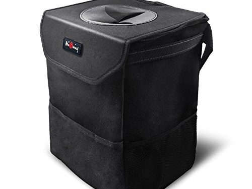 HiGoing Car Trash Can with Lid & Adjustable Straps, 13.8×9.9×7.9 Inch 17500ml Portable Car Storage Bag, 100% Leak-proof Waterproof Large Space Auto Garbage Bag Great for Vehicles Black