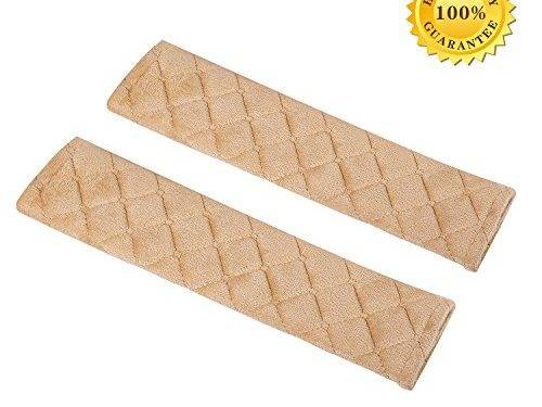 Seatbelt Covers,Car Belt Protector,Carsemoo Seat Belt Shoulder Strap Cover Harness Pads For Car/Bag,Soft Comfort Helps Protect You Neck And Shoulder From The Seatbelt Rubbing/Lrritation Beige 2-Pack