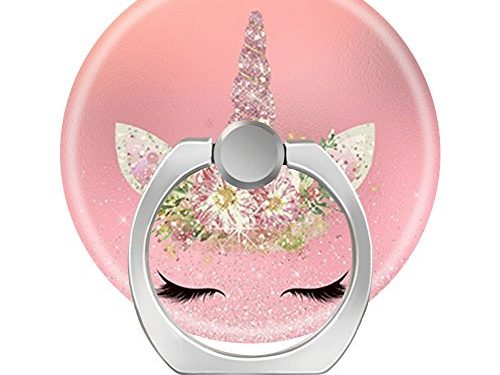 Pop 360 Degree Rotation Cellphone Finger Ring Holder Stand Car Mount Works for Smart Phone Iphone 5 6 7 8 X Plus Samsung HTC LG Ipad-unicorn lashes pink rose gold glitter flowers