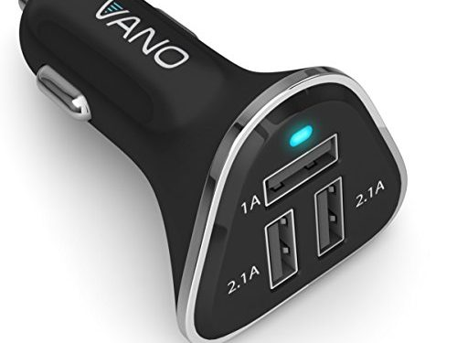 for Apple iPhone, iPad, Tablet, e-Reader – Phone Charger Adapter Plug for Car – Vano USB Cigarette Lighter Charger – Powerful 3 Port USB Cell Phone Charger