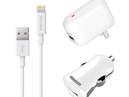 Apple MFI Certified Home Charger Adapter and Lightning Cable with Car Charger – White – 2.4 Amp Charger Kit with Rapid Charge Apple Lightning to USB Cable for iPhone iPad iPod