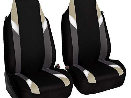 FH Group FB133BEIGE102 Bucket Seat Cover Supreme Modernistic Airbag Compatible Set of 2 Beige
