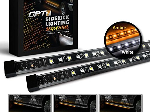 OPT7 2pc 60″ Side Kick Running Board LED Strips w/SEQUENTIAL Amber Turn Signal, DRL, and white Courtesy Light