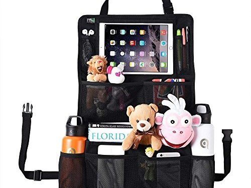 Great Travel Accessory – 11 Compartments including Touch Screen iPad Holder, Strong Buckles – MIU COLOR Car Back Seat Organizer Larger Storage