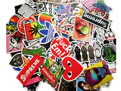 section – NIANPU 100 Pieces Waterproof Vinyl Stickers for Personalize Laptop, Car, Helmet, Skateboard, Luggage Graffiti Decals D