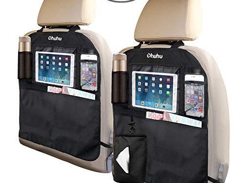 Ohuhu Kick Mats Car Backseat Organizer, 2-Pack XL Baby Child Kids Auto Back of Seat Protector with 1 Tissue Box, Clear iPad Holder, 3 Storage Bags, Vehicle Waterproof Seat Back Kick Protectors