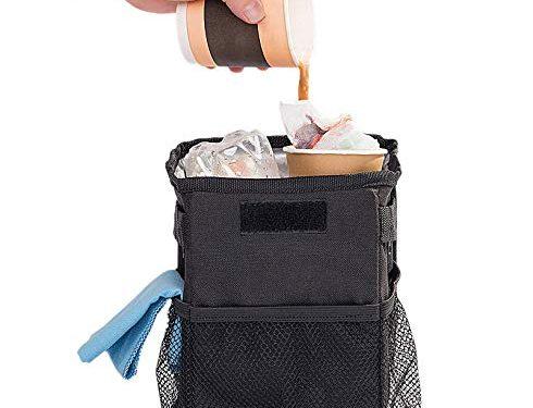 DriverSuperDreams Car Trash Can Bin – Car Garbage Bag with 3 Mesh Storage Pockets & Lid