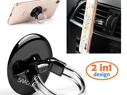 Phone Ring Holder Stand, 2 in 1 Universal Air Vent Car Phone Mount and Finger Grip Ring, 360°Rotation & 180°Flip with Strong Sticky Gel Pad for iPhone X/8/8Plus/7/7Plus/6s/6Plus, Galaxy S9/S8/S7/S6