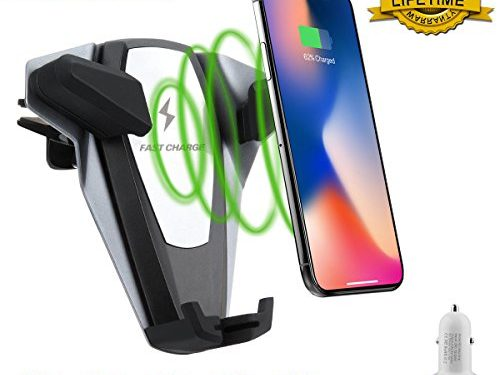 Wireless Car Charger,Qi Fast Charger Car Mount,Car Wireless Charing Mount Air Vent Phone Holder with QC 3.0 Plug for iPhone X 8/8 Plus, Samsung Galaxy S8, S7,S6/S7 Edge, Note 8 5 All Qi Enabled Device