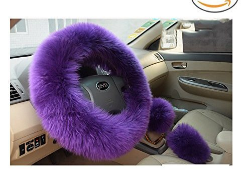 Younglingn Car Steering Whieel Gear Shift Handbrake Fuzzy Cover 1 Set 3 Pcs with Winter Warm Pure Wool for Girl Universal Fit Most CarPurple