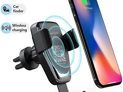 Wireless Car Charger Phone Mount, 2 in 1 Car Air Vent & Dashboard Universal Phone Holder Fast Charging Compatible with iPhone X iPhone 8/8 Plus,Samsung Galaxy and All QI-Enabled Smartphone black-02