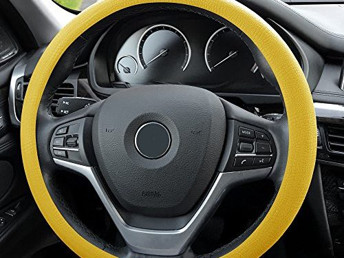 FH Group FH3001YELLOW Yellow Steering Wheel Cover Silicone Snake Pattern Massaging grip in Color-Fit Most Car Truck Suv or Van