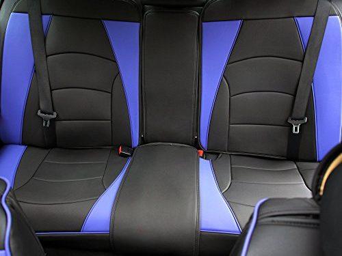 FH Group PU205013BLUEBLACK Blue/Black-Bench PU205BLUEBLACK013 Ultra Comfort Leatherette Rear Seat Cushions Blue Black
