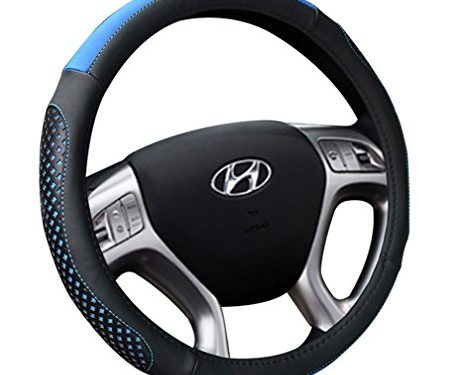 Soft Breathable Steering Wheel Wrap Black&Blue – Leather Steering Wheel Cover 15 inch Universal