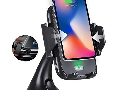 Dashboard, Air Vent Cell Phone Holder for iPhone X, 8/8 Plus, Samsung Galaxy Note 9/8, S9/S8/S7/S6 Edge and Other Qi-Enabled Phones – Aloxim Wireless Charging Car Mount with Infrared Motion Sensor