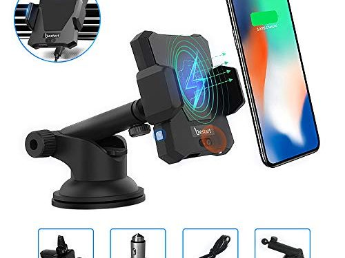 KeeGan Infrared Induction Wireless Car Charger Hands Free Mount Automatic Car Phone Holder Compatible with Qi-Enabled Phones Black