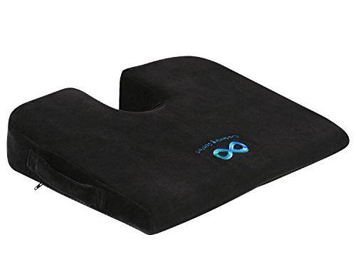 "Everlasting Comfort 100% Pure Memory Foam Wedge Seat Cushion, Body Heat Responsive, Orthopedic""U"" Cut-Out Design to Relieve Pain, Car Cushion"