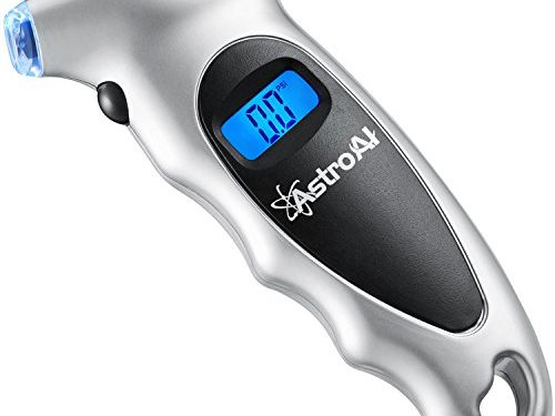 AstroAI Digital Tire Pressure Gauge 150 PSI 4 Settings for Car Truck Bicycle with Backlit LCD and Non-Slip Grip, Silver 1 Pack