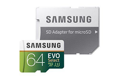 Samsung 64GB 100MB/s U3 MicroSDXC EVO Select Memory Card with Adapter MB-ME64GA/AM