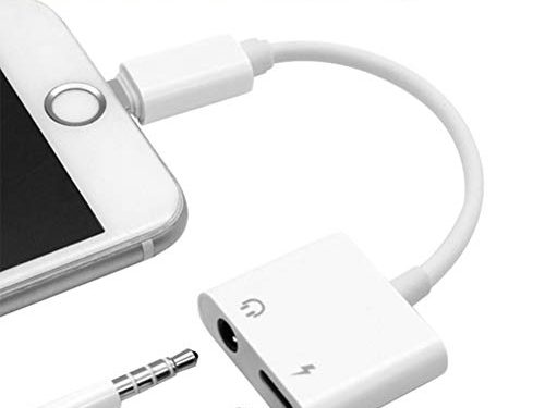 2 in 1 Lighting Audio +Charger Adapter Phone X Phone 8/8Plus Phone 7/7Plus Headset Earphone.Headphone 3.5mm AUX Audio Splitter Charger Adaptor Wire Control.Compatible iOS 11.4 Later-White