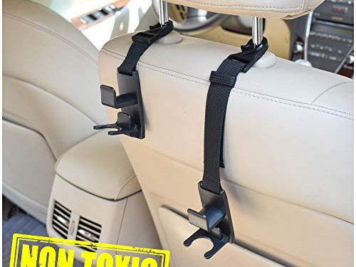 Drop Stop Gadget – Car Back Seat Headrest Hanger Holder Hooks for Purse Grocery Bag Cloth Coat – Black – Heavy Duty Purse Hooks – Universal Vehicle Trunk Storage Organizer