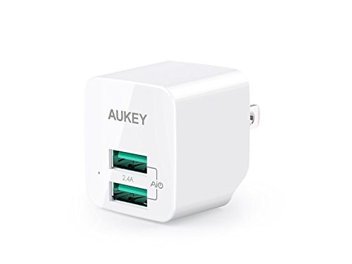 AUKEY USB Wall Charger, ULTRA COMPACT Dual Port 2.4A Output & Foldable Plug for iPhone X/8/7/Plus, iPad Pro/Air 2/Mini 4, Samsung and More