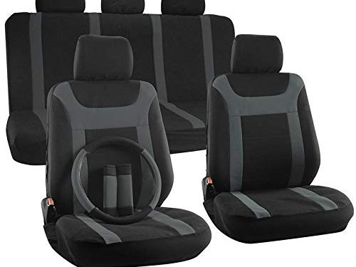 Fits Select Vehicles Car Truck Van SUV – Motorup America Auto Seat Cover Full Set – Gray & Black