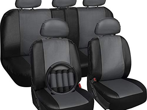 Gray & Black – Fits Select Vehicles Car Truck Van SUV – Motorup America Leather Auto Seat Cover Full Set