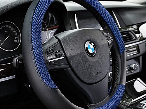 DC Microfiber Leather Auto Car Steering Wheel Cover Anti-slip Universal 15″/38cm BLUE
